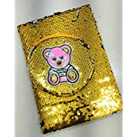 FunBlast Sequin Notebook for Girls, Stylish Sequin Diary - Color Changing Reversible Girls Diary – Size – A5 (Bear - Gold)