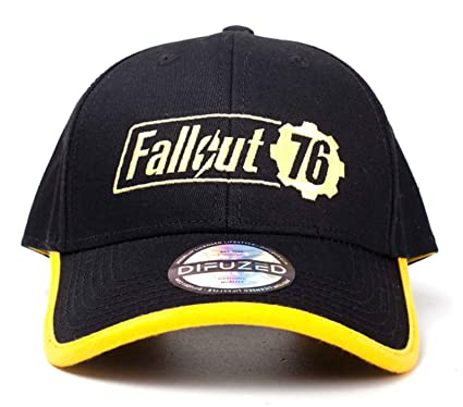 33a2f8df96d026 Image Unavailable. Image not available for. Color: Fallout Vault 76  Baseball Cap Yellow Logo Official Black Snapback