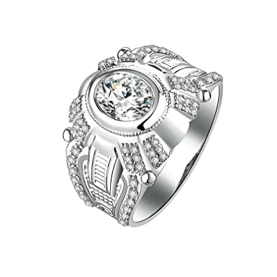 Amazon Com Aooaz Jewelry Wedding Ring Silver Material Pattern Ring