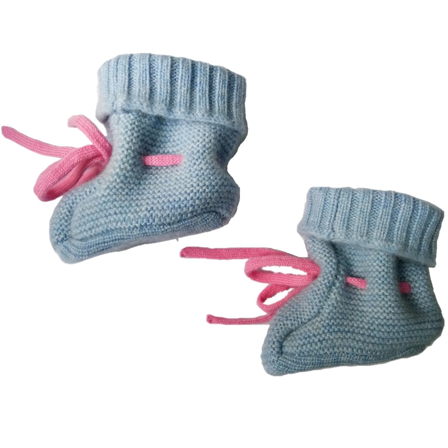 DILLY FASHION Unisex Baby Knitted 100% Cashmere Baby Socks With Tie (Blue) by DILLY FASHION