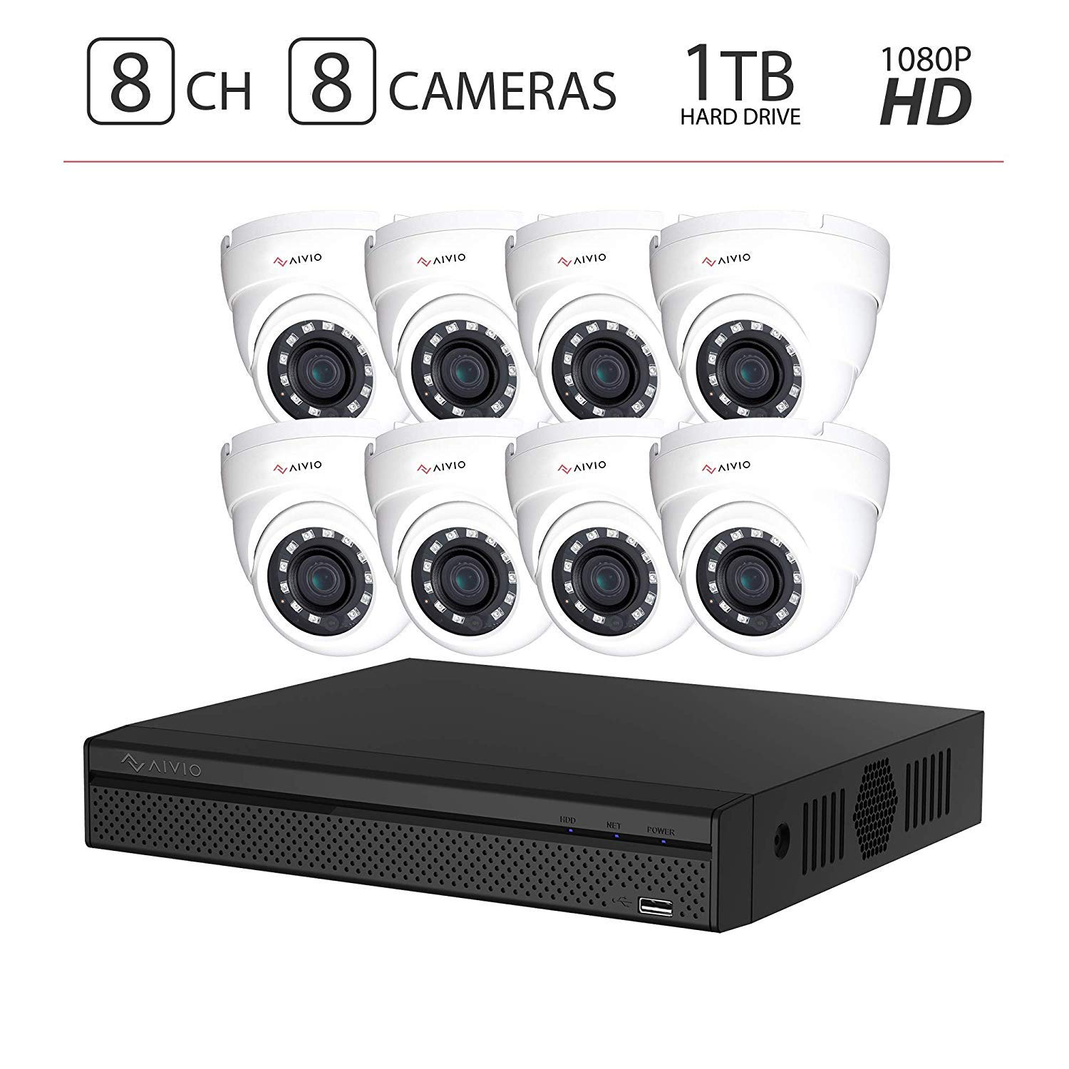 2019 Aivio Dahua OEM 1080P 4CH Home Security Camera System 1TB Hard Drive, Surveillance DVR kit w 4X 2MP 1920×1080 HDCVI Outdoor IP67 Bullet Cameras 1T HDD XVR5104HS-S2 HAC-HFW1220S