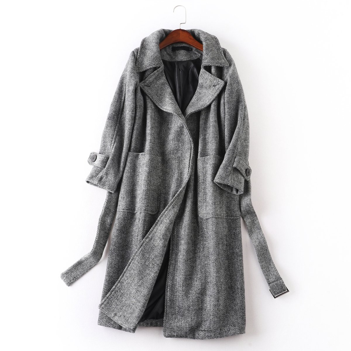Pugaomsiw einfache und Elegante Wolle Mantel Winter Mode Knie Lange Jacke locker gürtel Wolle Mantel,L,Grau