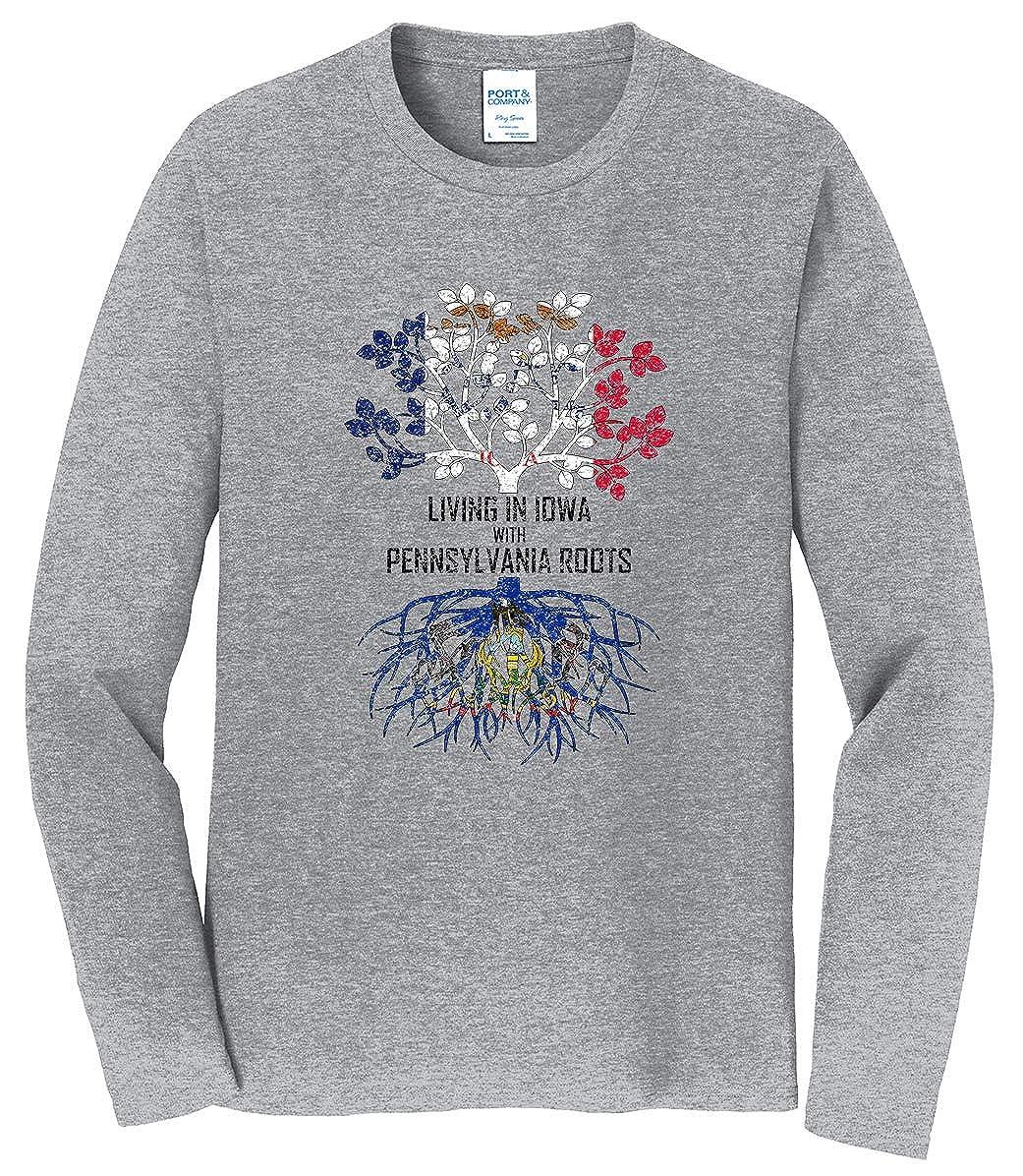 Tenacitee Mens Living in Iowa Pennsylvania Roots T-Shirt