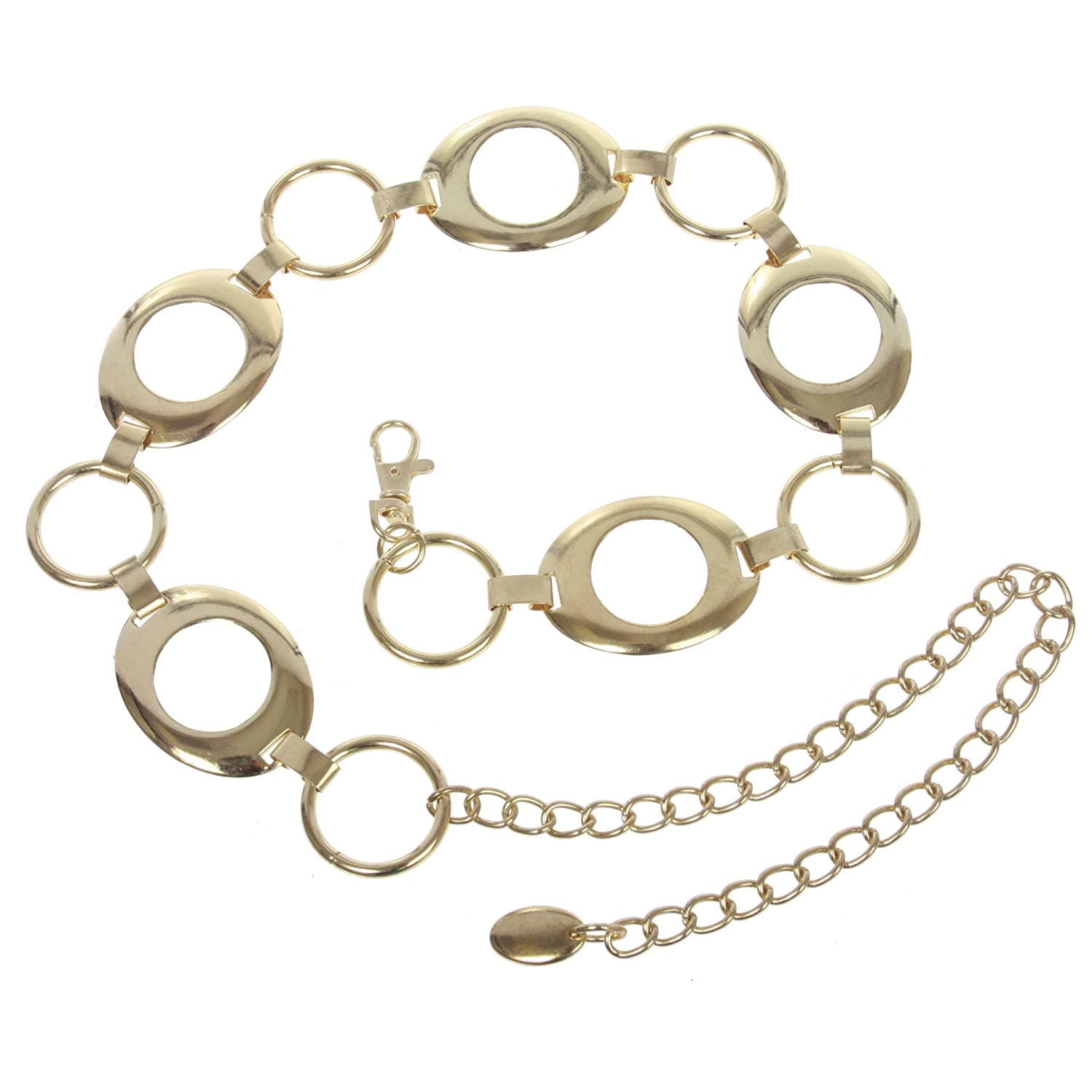 Women's Metal Oval Circle Chain Belt, Gold | O/S - 39 End To End Beltiscool WY7112:011X:A002