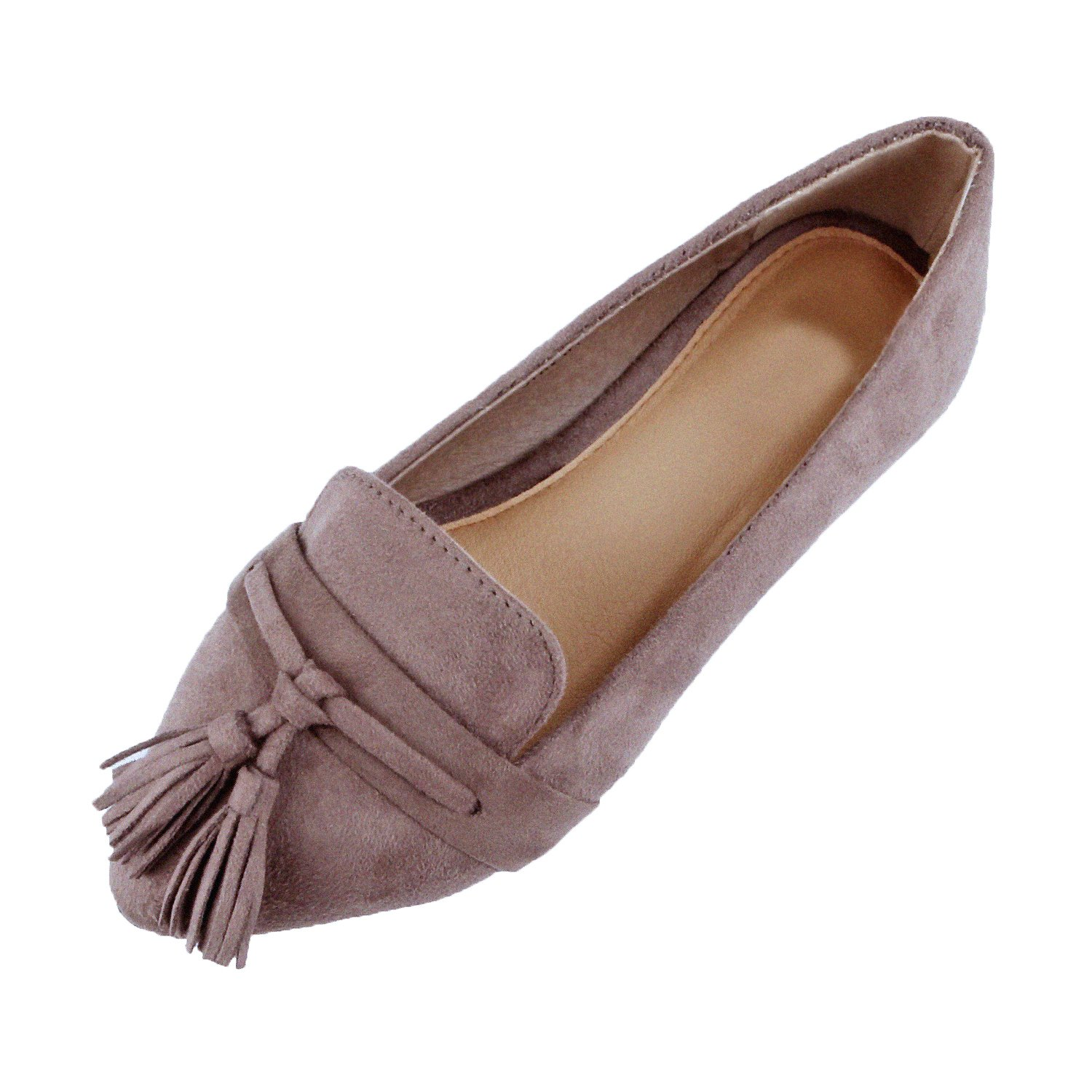 Guilty Heart | Women's Tassel Slip On Comfortable Pointy Toe Oxford Loafer | Faux Suede Espadrille Casual Flats