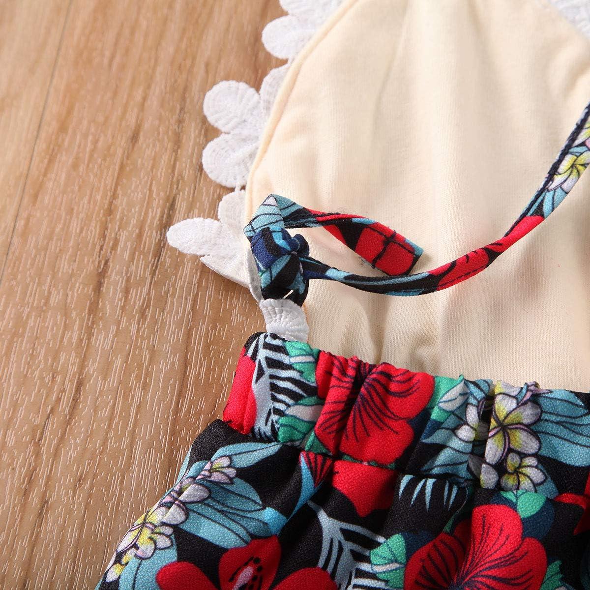 v/êtements de f/ête de vacances Barboteuse d/ét/é en coton sans manches pour petite fille avec imprim/é floral 0-3 ans