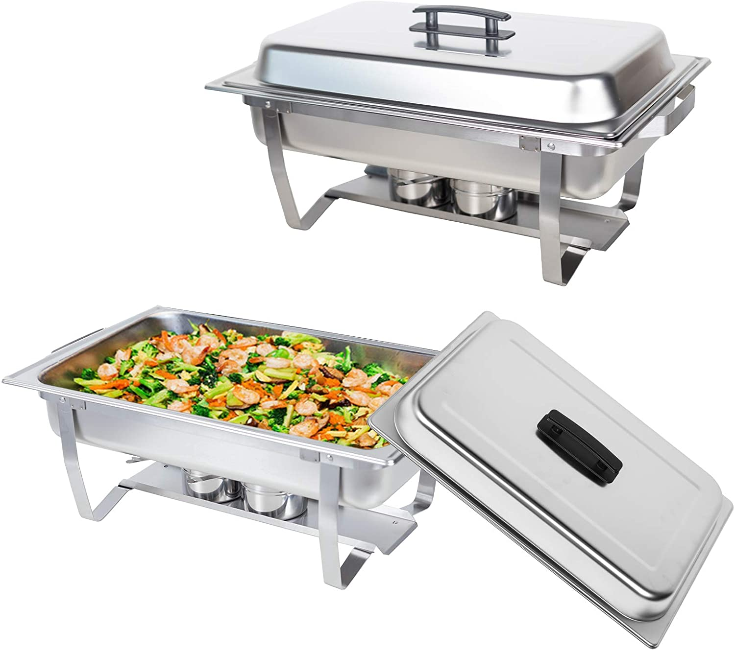 Valgus 2 Pack 8QT Stainless Steel Chafing Dish Buffet Chafer Set with Foldable Frame Water Trays Food Pan Fuel Holder and Lid Food Warmers for Wedding, Parties, Banquet, Catering Events