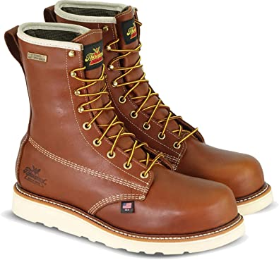 """Amazon.com: Thorogood 804-4280 Men's American Heritage 8"""" Round Toe,  MAXWear Wedge Waterproof Composite Safety Toe Boot, Tobacco Oil-Tanned - 14  D(M) US: Shoes"""