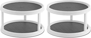 Copco 2555-0187 Non-Skid 2-Tier Pantry Cabinet Lazy Susan Turntable, 12-Inch, White/Gray - 2 Pack