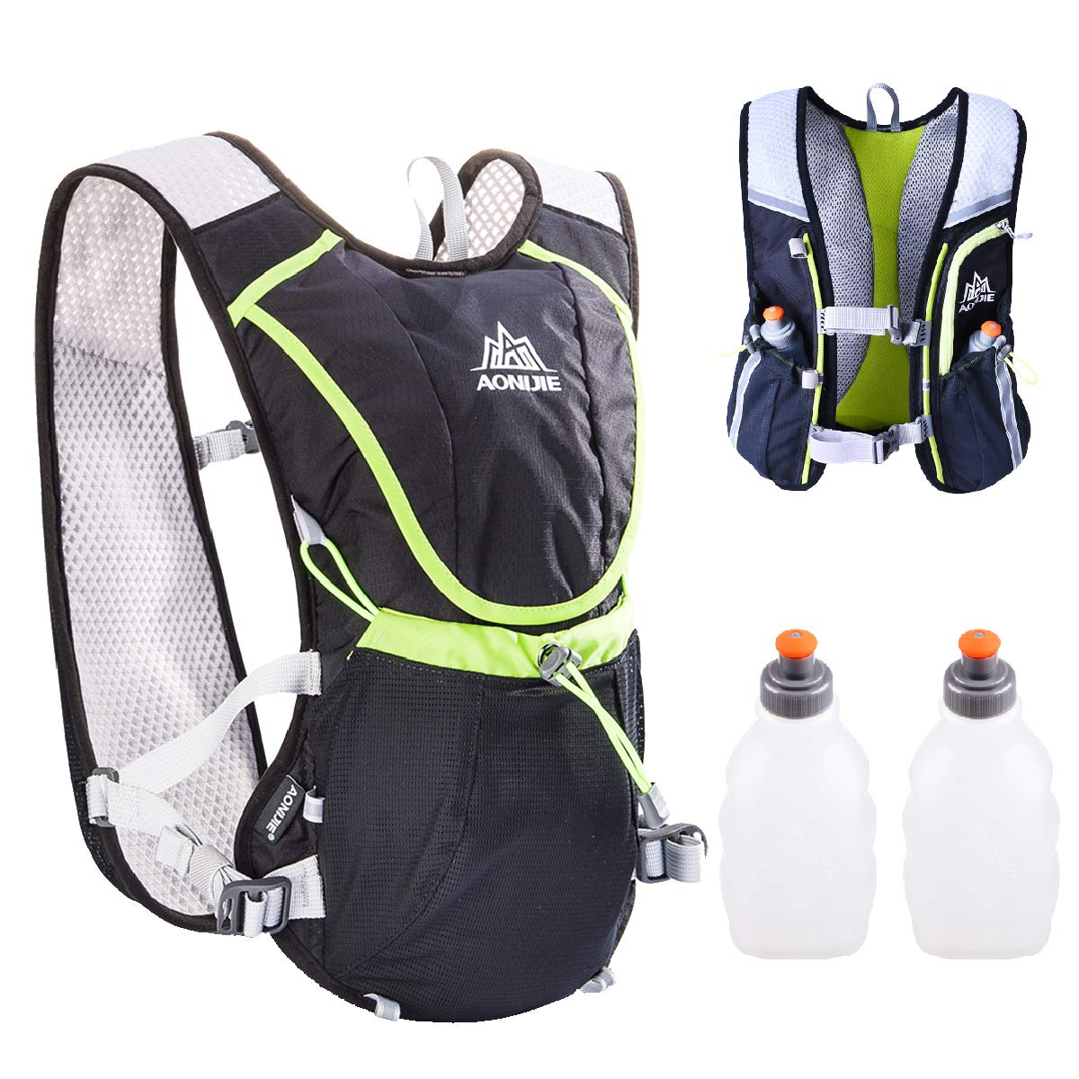 TRIWONDER Hydration Pack Backpack Professional 8L Outdoors Mochilas Trail Marathoner Running Race Cycling Hydration Vest (Black - with 2 Water Bottles)
