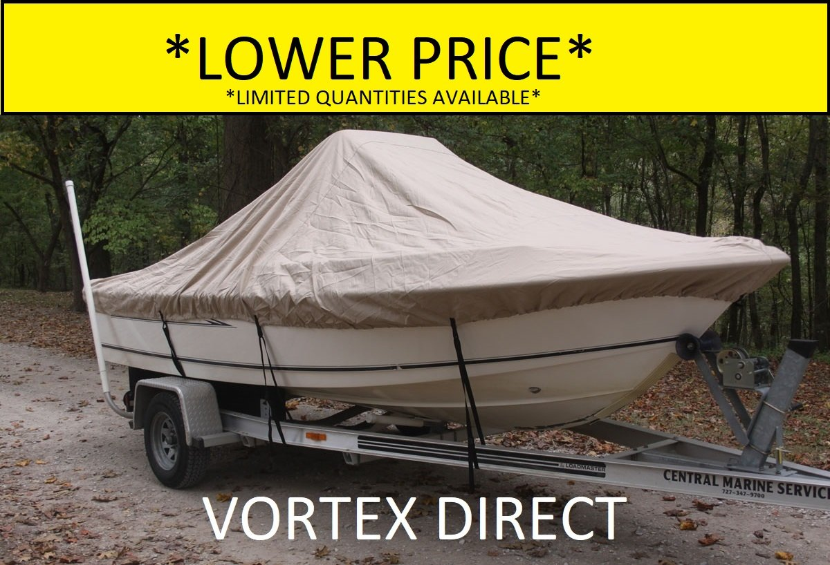VORTEX HEAVY DUTY TAN / BEIGE CENTER CONSOLE BOAT COVER FOR 17'7'' - 18'6'' BOAT (FAST SHIPPING - 1 TO 4 BUSINESS DAY DELIVERY)