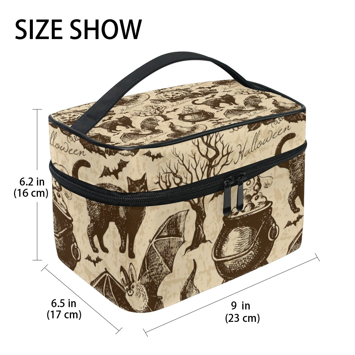 GIOVANIOR Vintage Halloween Black Cat Bat Print Large Cosmetic Bag Travel Makeup Organizer Case Holder for Women Girls