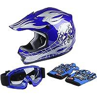 $40 » XFMT Youth Kids Motocross Offroad Street Dirt Bike Helmet Goggles Gloves Atv Mx Helmet Blue…