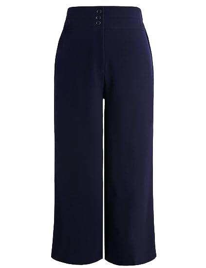 Chicwe Donna Taglie Forti Curvy Fit Cropped Pantaloni Ritagliata con Gamba  Larga Cintura Larga - Pantaloni da Lavoro e Casual Blu Marino EU58   Amazon.it  ... e8e7785314a