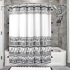 Uphome Tassel Fabric Shower Curtains, Black White Geometric Bohemian Bathroom Curtain with Hooks, Nordic Chic Striped Bath Curtain Set Waterproof for Farmhouse Hotel Spa Decor Accessories - 72 x 72