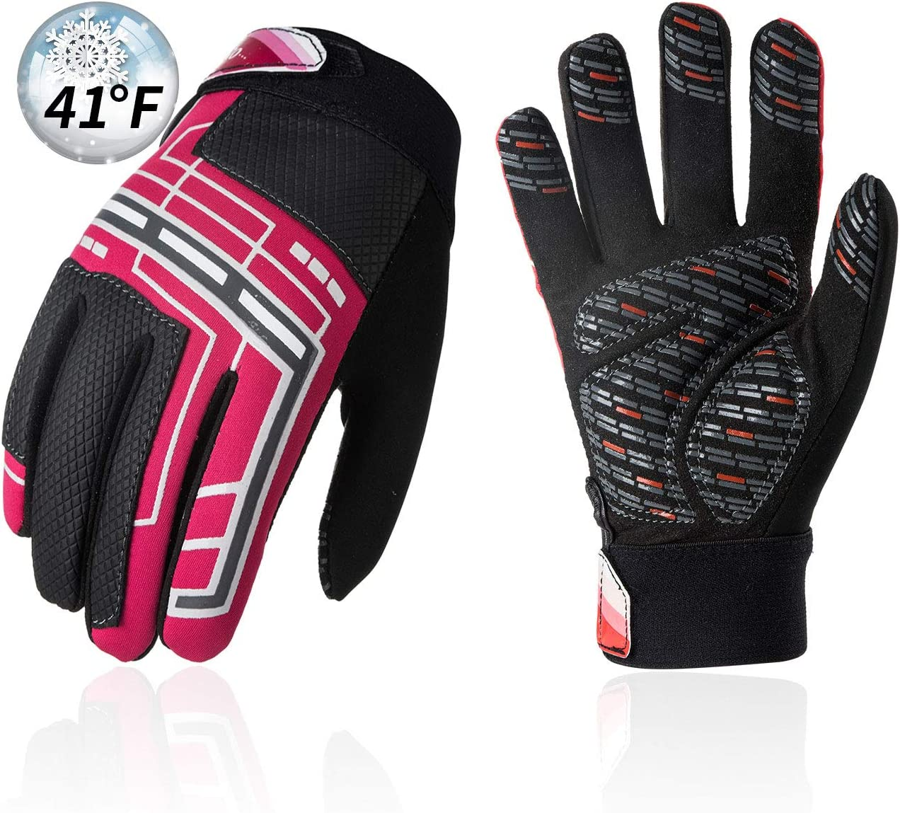Vgo... Kids & Youth 41℉ or Above Synthetic Leather Cycling Gloves w/Polar Fleece, Memory Foam for Impact Absorption (SL2505)