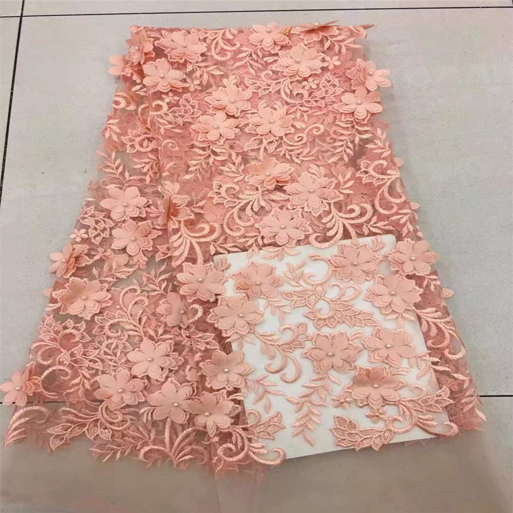 Laliva Pearls French Nigerian Laces Fabrics 3D African Laces Fabrics Wedding African French Tulle Lace H39-2 - (Color: as Picture)