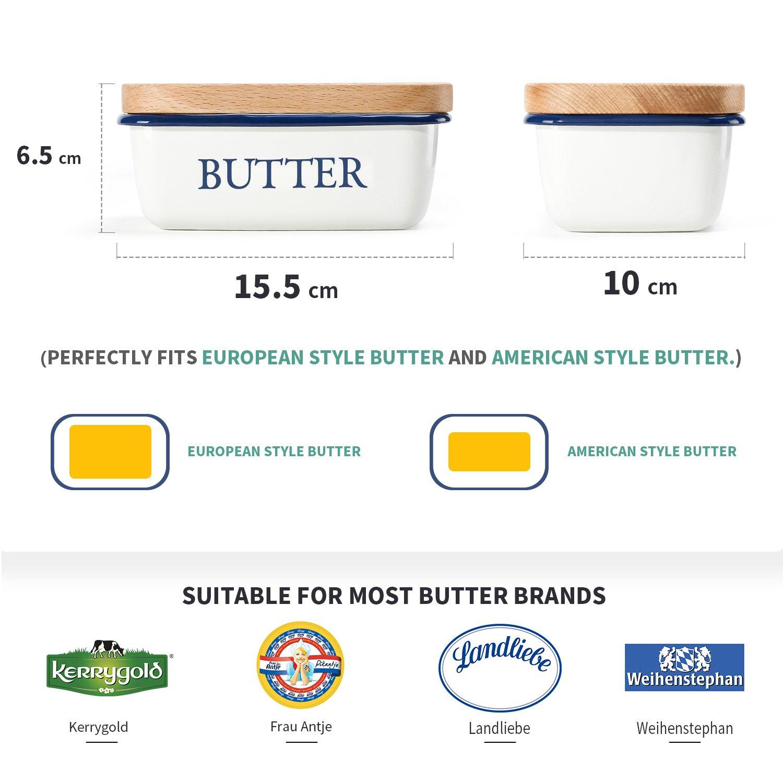 von SveBake Butterdose Multi-Funktion Emaille Butter Boot mit Deckel wei/ß