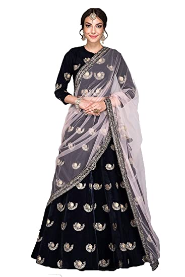 abfa38333a Bahubali Creation Women's Navy Blue Colored Embroidered Tapeta Velvet  Lehenga Choli(Free Size,BB117: Amazon.in: Clothing & Accessories