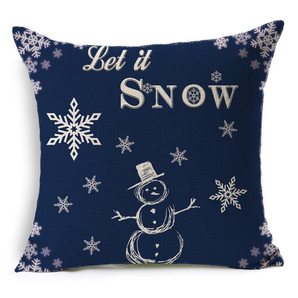 HT&PJ Decorative Cotton Linen Square Throw Pillow Case Cushion Cover Christmas Snowman Blue Design 18 x 18 Inches
