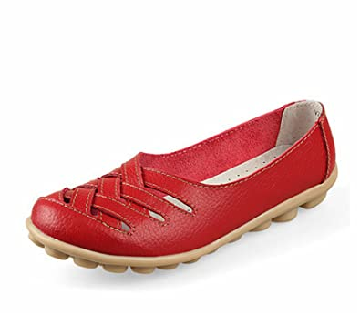 Surprising Day New Women's Casual Shoes Genuine Leather Woman Loafers Slip On Female Flats Leisure Ladies Driving Shoe Solid Mother Boat Shoes Red 4