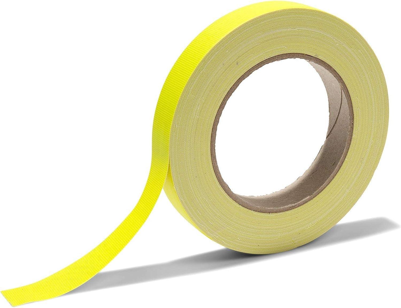 matt neonpink neonfarbenes Klebeband aus PE-beschichtetem Gewebe GewebebandGaffa stark haftendes Gaffa-Tape mit Naturkautschuk 0,36 mm stark Breite 19 mm x L/änge 25 m