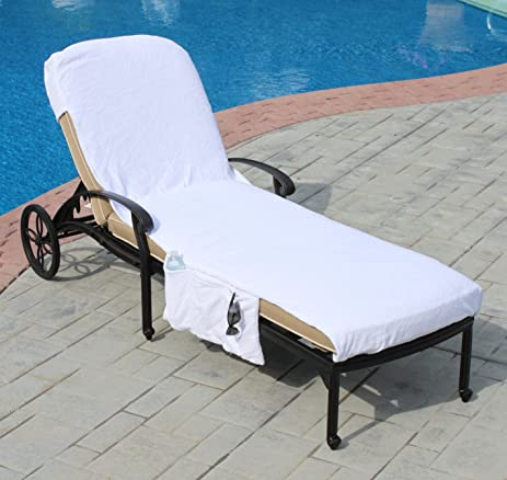 Lounge Chair Cover Luxury Turkish Cotton Side Pocket Option Eco Friendly  (32u0026quot;x102u0026quot