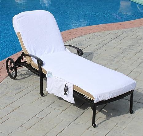 Lounge Chair Cover Luxury Turkish Cotton Side Pocket Option Eco Friendly  (32u0026quot;x102u0026quot