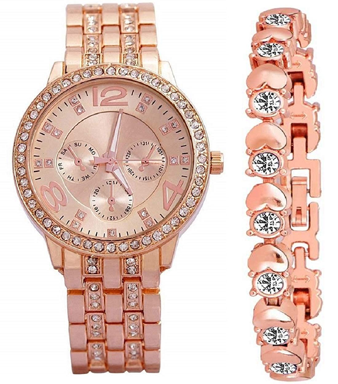 Diamond Studded Stylish Analogue Watch with Rose Gold Dot Bracelet