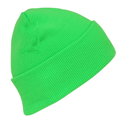 977e4bc45c3bc Hot Neon Long Cuffed Winter Beanie Neon Green at Amazon Men s Clothing  store  Skull Caps