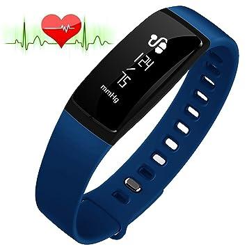 RIVERSONG®Fitness Tracker Monitor de Frecuencia Cardiaca Pulsera de Presión Arterial Reloj Sedentario Alarma de