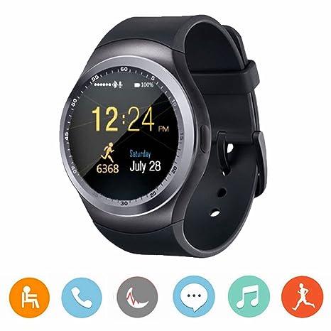 CanMixs Reloj inteligente Smart Watch Android Y1 con ranura para tarjeta SIM, pulsera de actividad