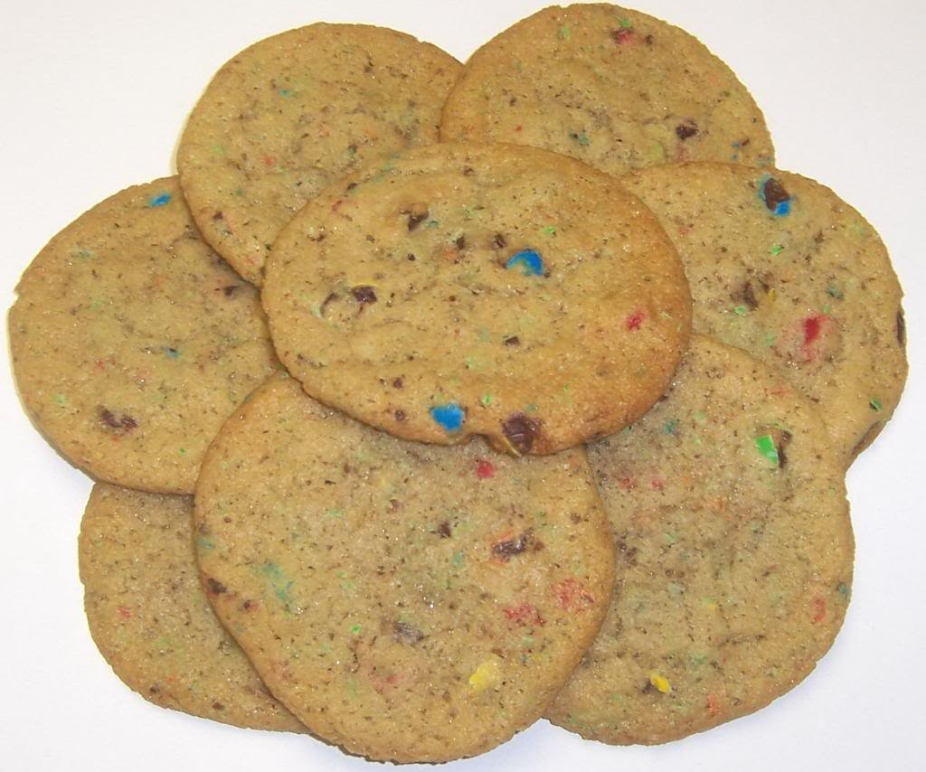 Scott's Cakes Cookie Combos - Sliced Candy M&M Cookies and Oatmeal Raisin in a Large Snowflake Tin