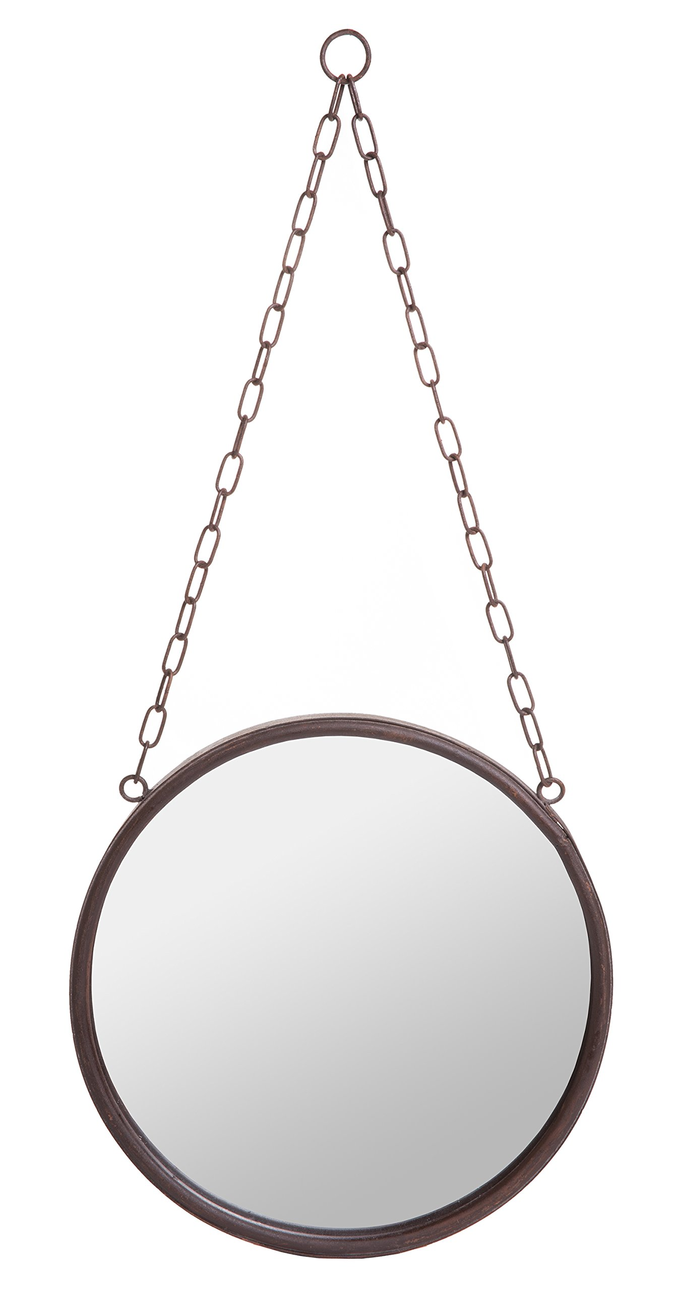 Decorative Round Hanging Wall Mirror w/Chain, Country Rustic Inspired Rust Finish, 10-inch