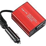 [KNGUVTH正規品] 150W DC12V車専用 かーインバーター・コンバーター シガーソケット充電器 USB 2ポート ACコンセント(110V/60HZ DC12VをAC110Vに変換)50Hz/60Hz変換スイッチ 3口同時 急速充電(メーカ保証一年)