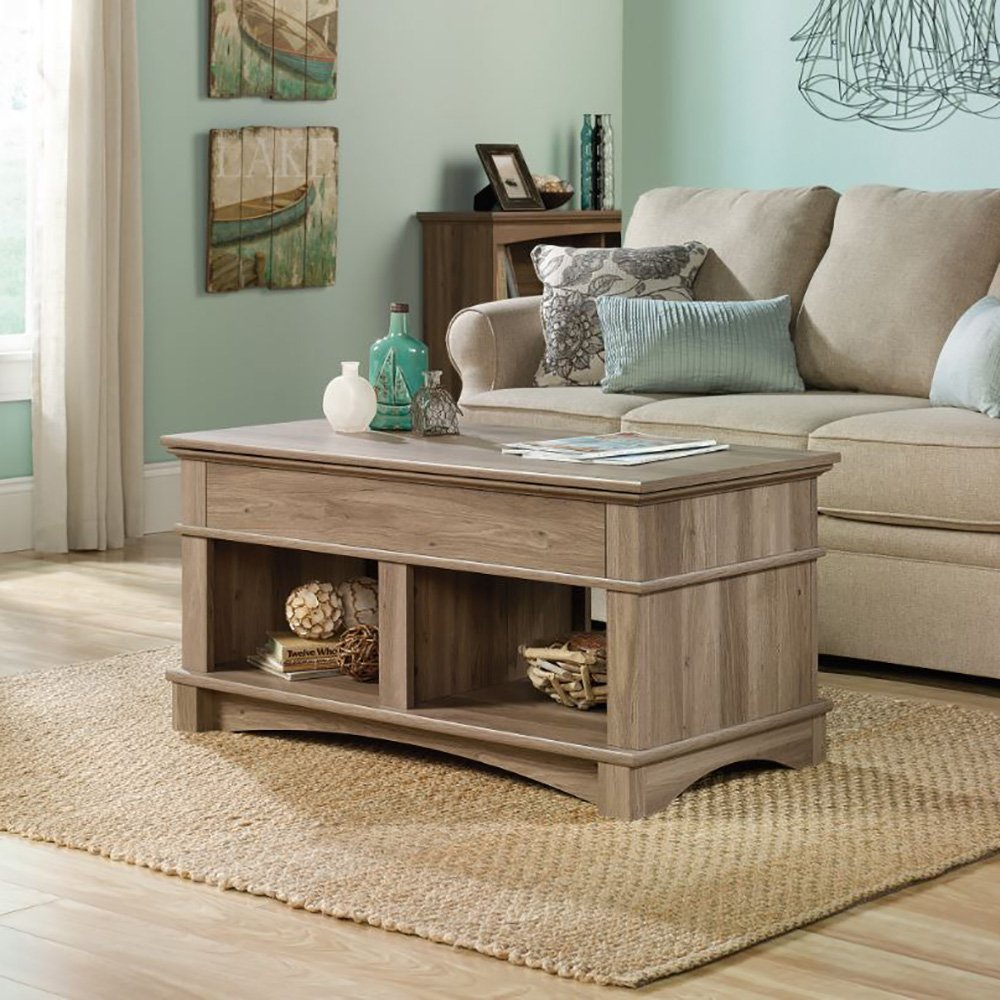 Amazoncom Sauder Harbor View Lift Top Coffee Table In Salt Oak - Lift top coffee table with storage