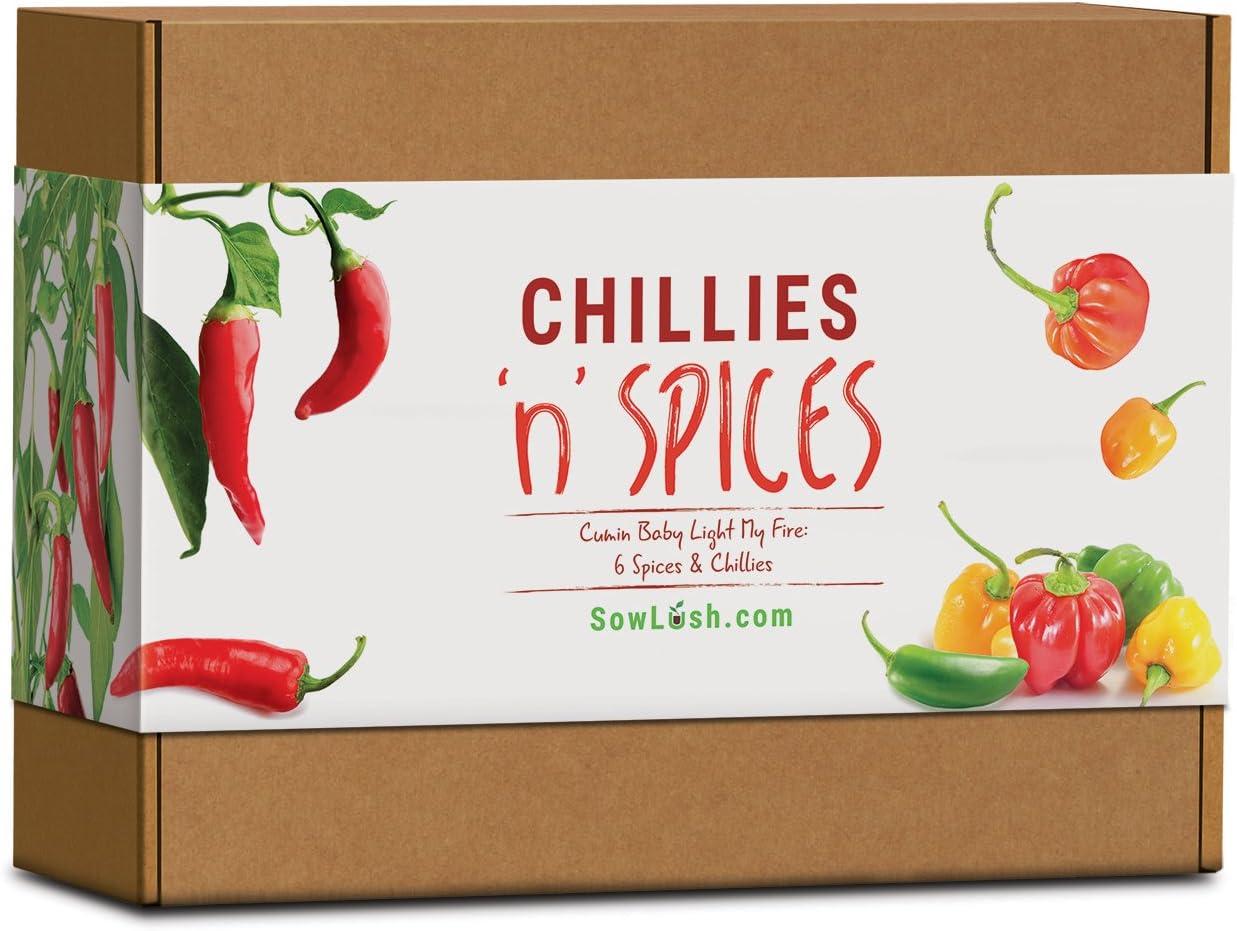 Set de Cultivo de Especias y chilis «Chillies 'n' Spices», Ideal como Regalo 6 sensacionales Chiles y Especias llenos de Sabor. Fáciles de Cultivar.