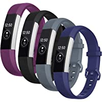 Welltin Bands Compatible with Fitbit Alta/Alta HR for Women and Men(4 Pack), Classic Soft Silicone Sport Strap Wristband…