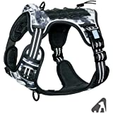 Auroth Tactical Dog Training Harness No Pulling Front Clip Leash Adhesion Reflective K9 Pet Working Vest Easy Control for Sma