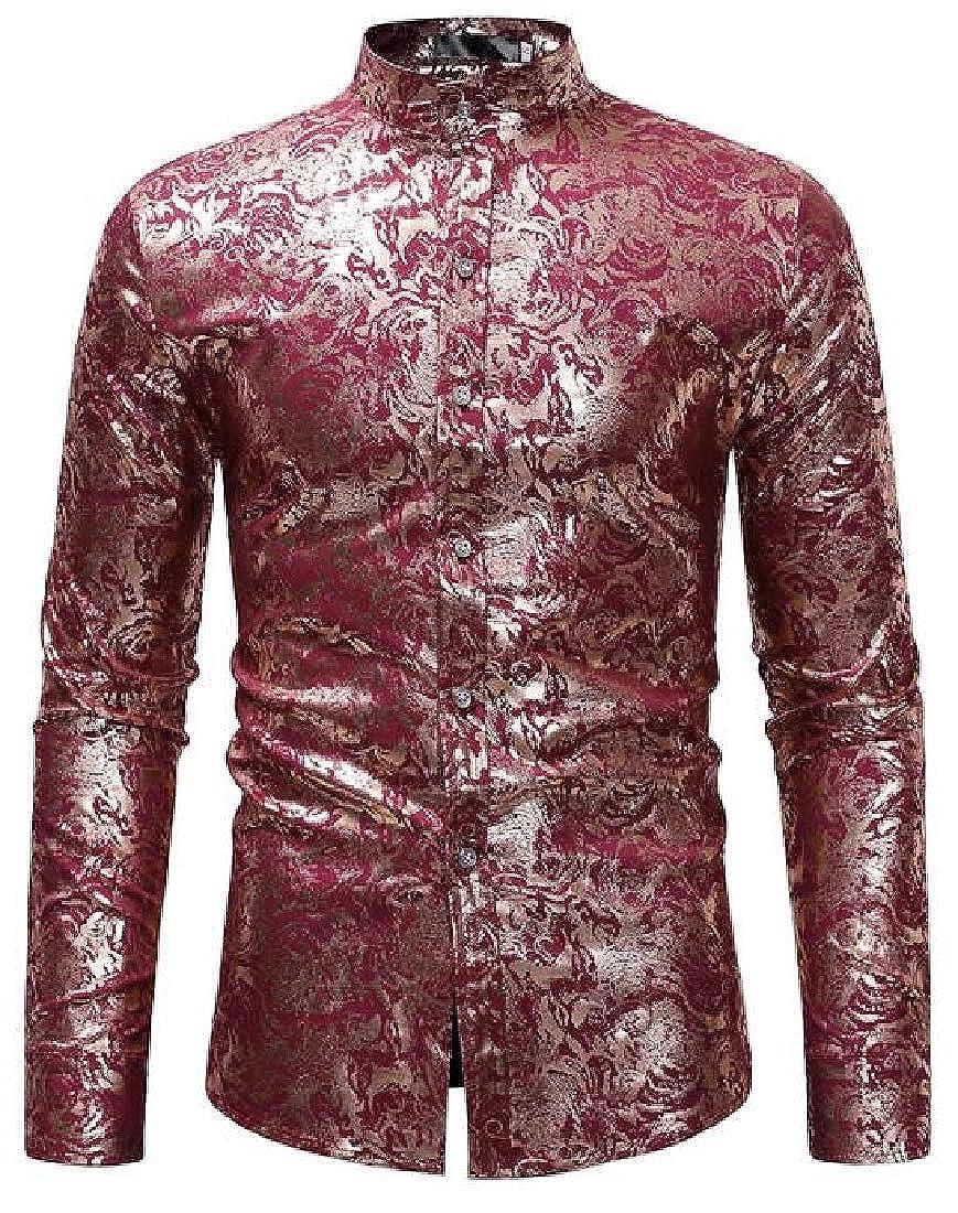 CRYYU Men Shirts Button Up Print Long Sleeve Relaxed Fit Dress Shirts