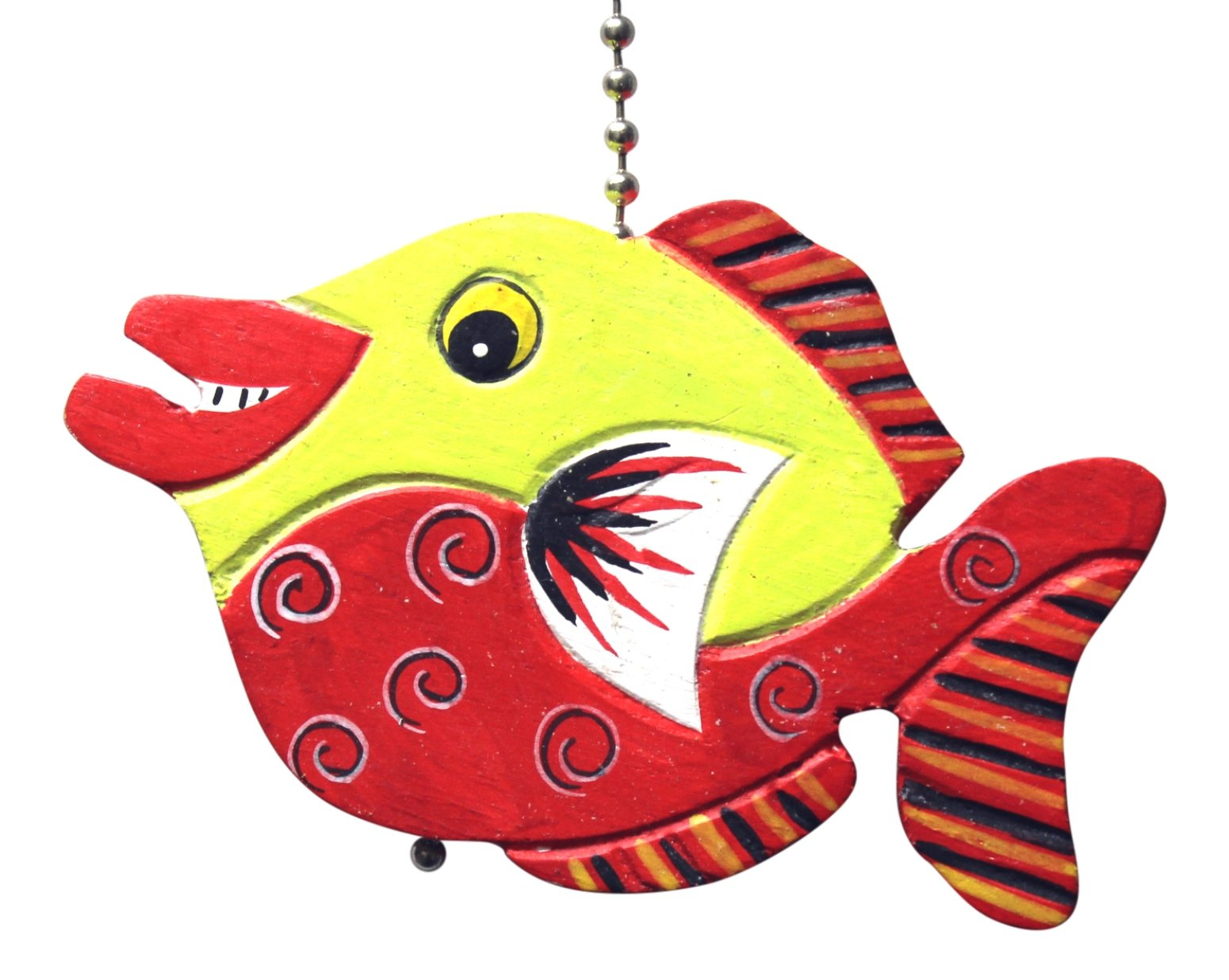 MTI Lime Green and Red Tropical Fish Ceiling Fan Light Pull Hand Carved Wood