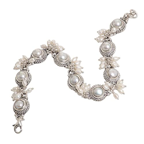NOVICA Cultured Freshwater Pearl .925 Sterling Silver Bridal Bracelet, 7.5 Moons and Shooting Stars