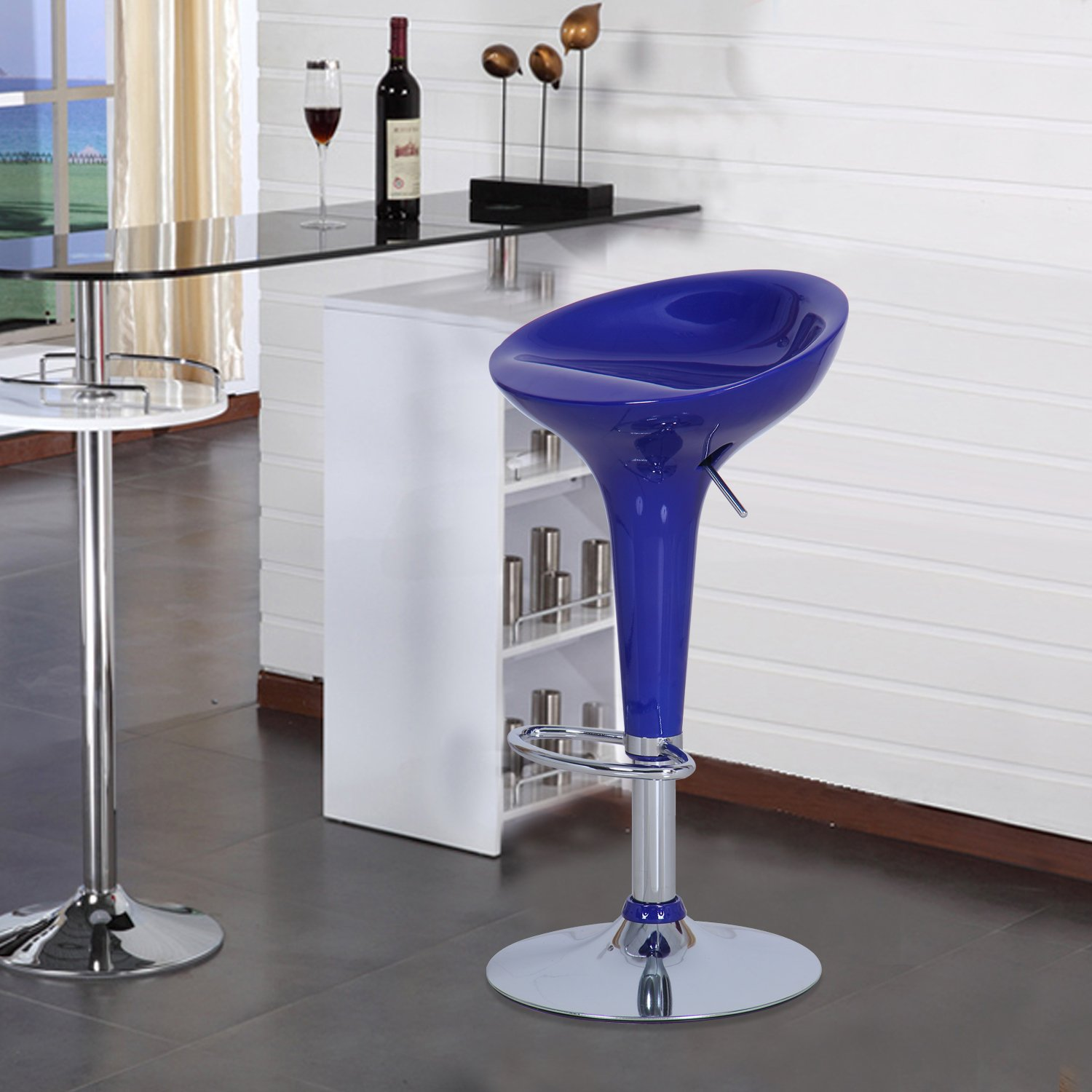 Joveco Stylish Colorful Swivel Adjustable Bar Stools blue – Set of 2