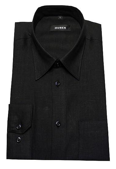 HUBER Leinen Hemd schwarz 100% Leinen Kentkragen HU-0060 bequemer Schnitt   Amazon.de  Bekleidung 0766471e4e