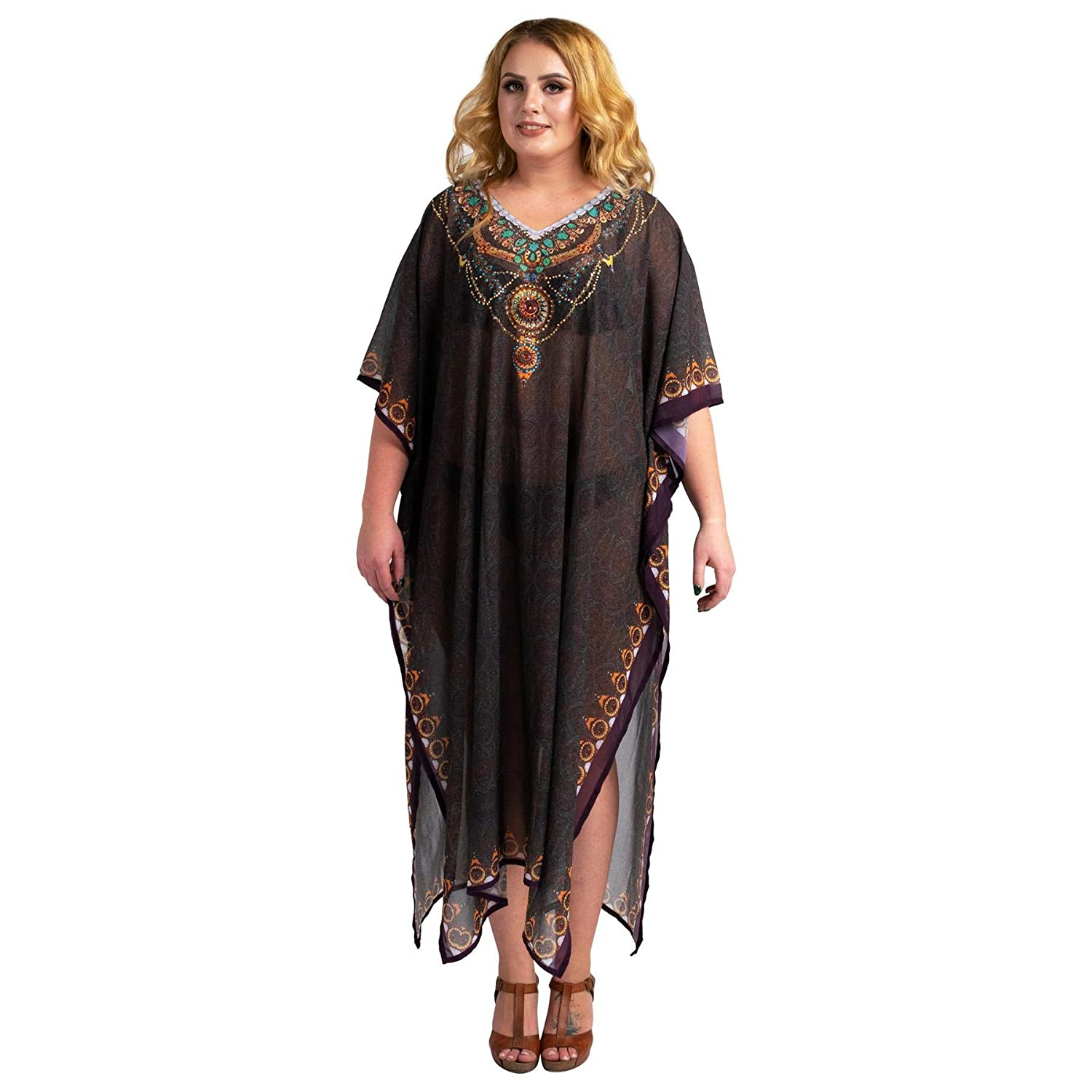 Black Flapper Dresses, 1920s Black Dresses Miss Lavish London Stonework and Hand Embroidered Kaftans Suiting Teens to Adult Women in Regular to Plus Size $17.99 AT vintagedancer.com