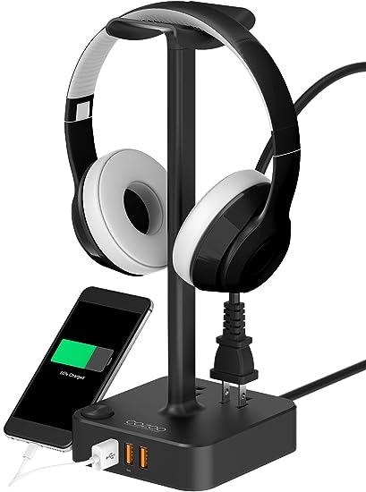 Soporte para auriculares con cargador USB COZOO. Soporte de escritorio para videojuegos con 3 puertos