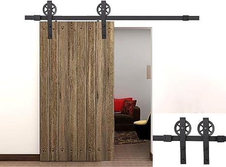Puerta corrediza de granero madera Hardware 8 ft Vintage correa de acero negro: Amazon.es: Bricolaje y herramientas