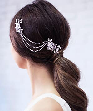 aukmla bridal hair combs slides with rhinestones wedding hair comb