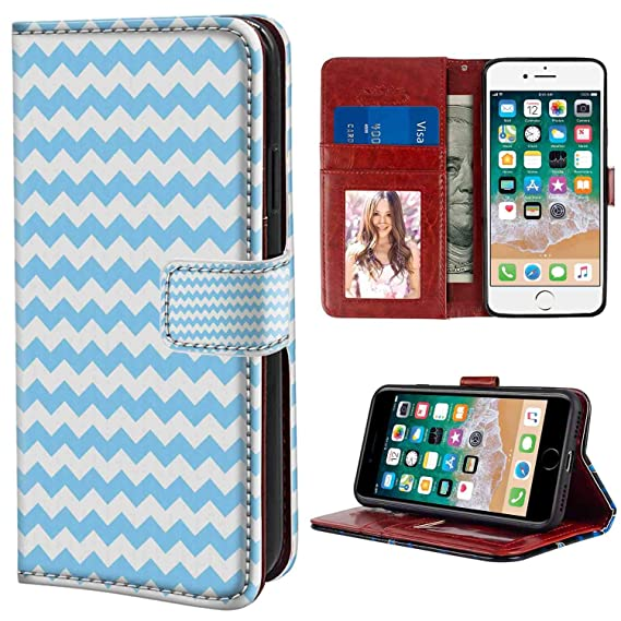 Amazon com: iPhone 7, iPhone 8 Wallet Case, Pale Blue Old