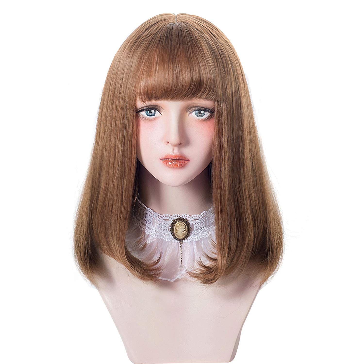 Short Bob Brown Wig Bangs - Bob Synthetic Wig For Women Cosplay Costume, Natural Hair Color Lolita Wig For Party and Daily with Wig Cap